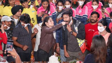 Photo of Celebrating Actress Tamanna Birthday on Seetimaarr sets With Gopichand