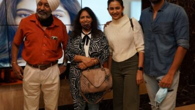 Photo of Rakulpreet with family spotted at cinemas to catch up her brother AmanPreet first debut film Teravenuka in Hyderabad